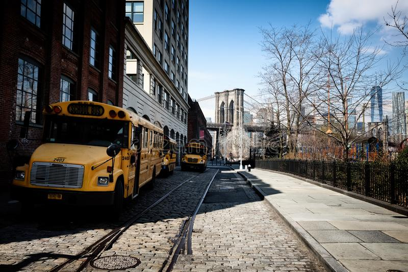 Żółty autobus szkolny w Miasto Nowy Jork obraz stock