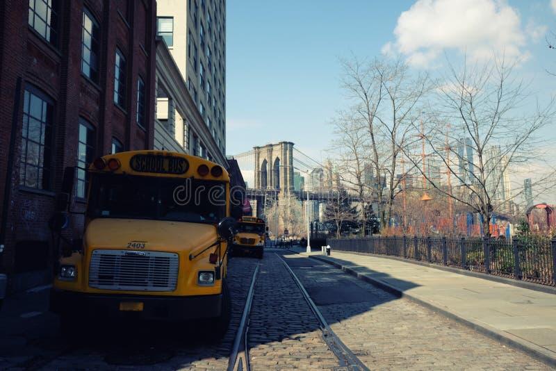 Żółty autobus szkolny w Miasto Nowy Jork fotografia royalty free