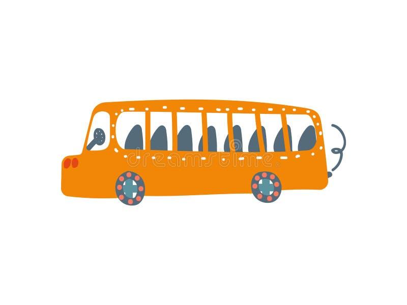 Żółty autobus, transport publiczny, Boczny widok, kreskówka wektoru ilustracja ilustracji