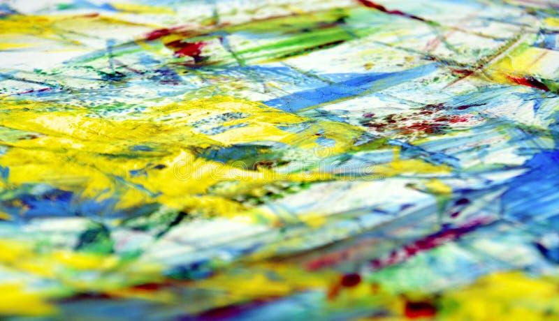 Żółty błękitnej zieleni plamy obrazu akwareli biały czerwony żywy tło, abstrakcjonistyczny obraz akwareli tło obrazy royalty free