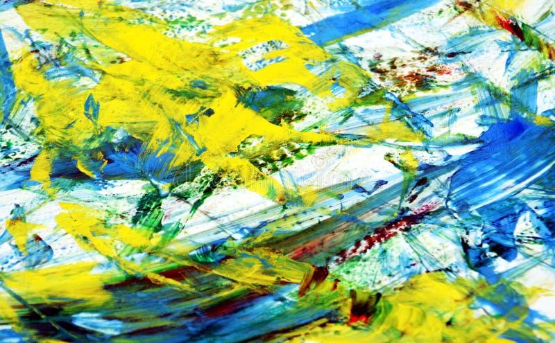 Żółty błękitny żywy obrazu tło, abstrakcjonistyczny obraz akwareli tło obrazy stock