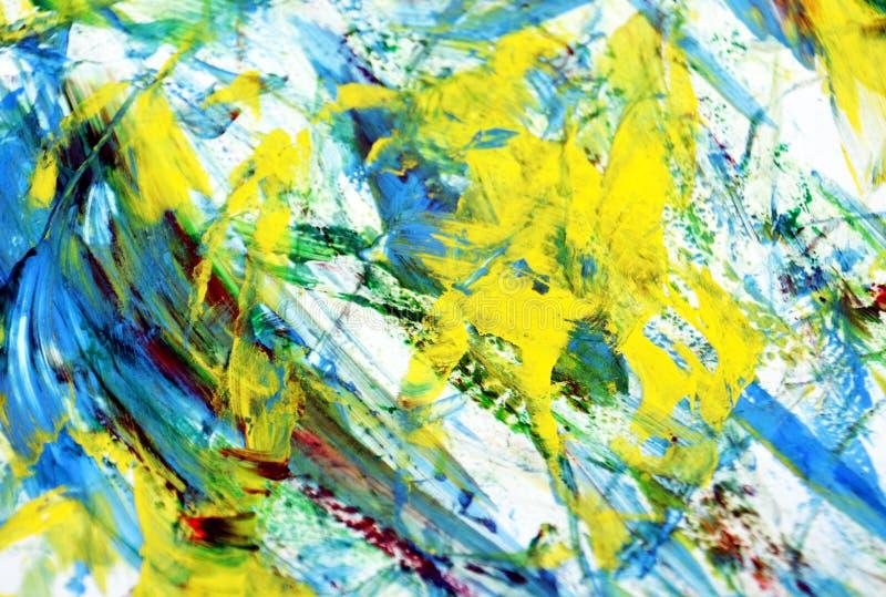 Żółty błękitny biały żywy obraz akwareli tło, abstrakcjonistyczny obraz akwareli tło fotografia stock