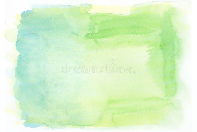 Żółty błękitny i zielony akwarela gradientu tło ilustracja wektor