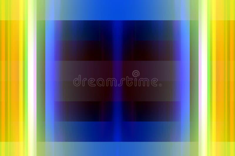 Żółty błękitny kontrasta abstrakt zaświeca, tworzy, i kształty, geometryczny abstrakcjonistyczny tło royalty ilustracja