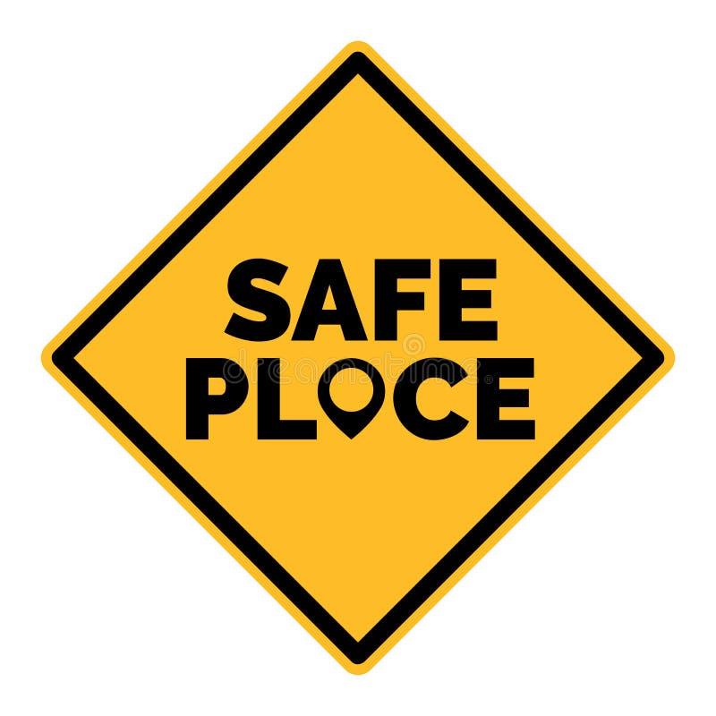 Żółty bezpieczne miejsce wektoru znak Z mapa pointerem ilustracji