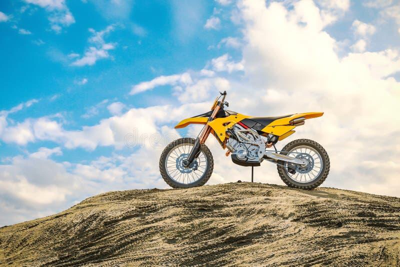 Żółty bieżny motocykl na motocross śladzie Droga daleko 3d ilustracji