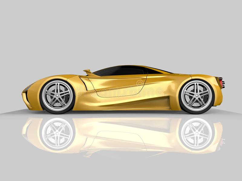 Żółty bieżny pojęcie samochód Wizerunek samochód na szarym glansowanym tle świadczenia 3 d ilustracja wektor