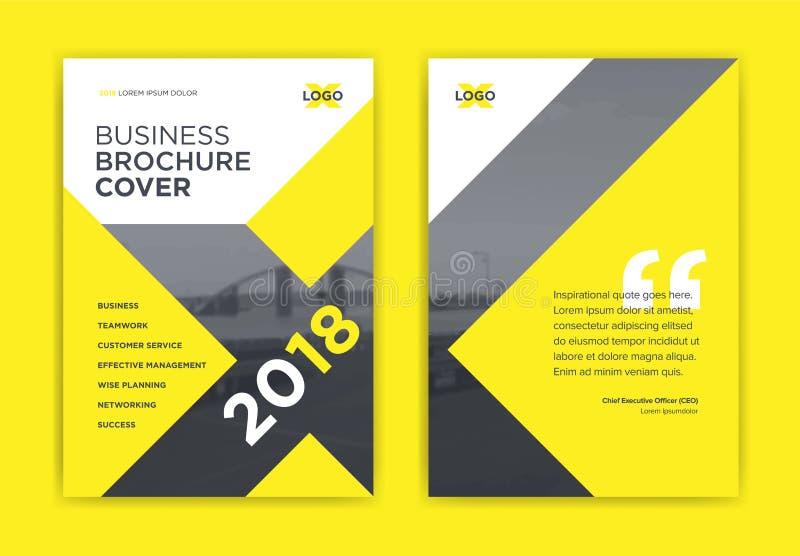 Żółty broszurki pokrywy projekt wektor - X kształta broszurki strony tytułowej układ - ilustracji
