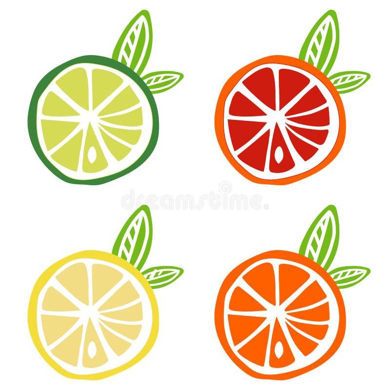 Żółty cytryny zieleni wapna pomarańczowej czerwieni ikony owoc grapefruitowy cytrus ilustracja wektor