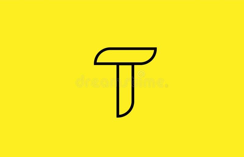 żółty czerni linii abecadła listu T logo firmy ikony projekt ilustracja wektor