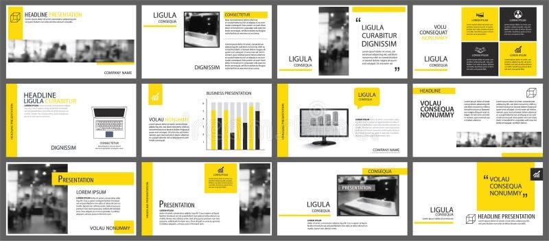 Żółty element dla obruszenia infographic na tle prezentacja royalty ilustracja
