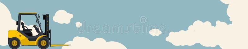 Żółty forklift ładowacz, niebo z chmurami w tle Horyzontalny sztandaru układ z małym ekskawatorem, żuraw royalty ilustracja