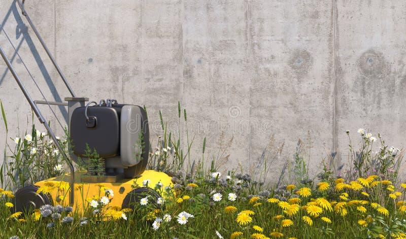 Żółty gazonu kosiarz stoi blisko betonowej ściany z niestrzyżonym gazonem, przerastającym z świrzepami i wildflowers na lato słon ilustracja wektor