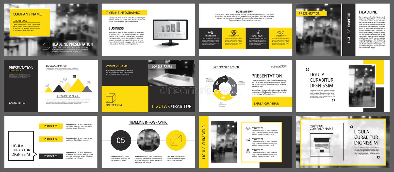 Żółty i biały element dla obruszenia infographic na tle PR ilustracji