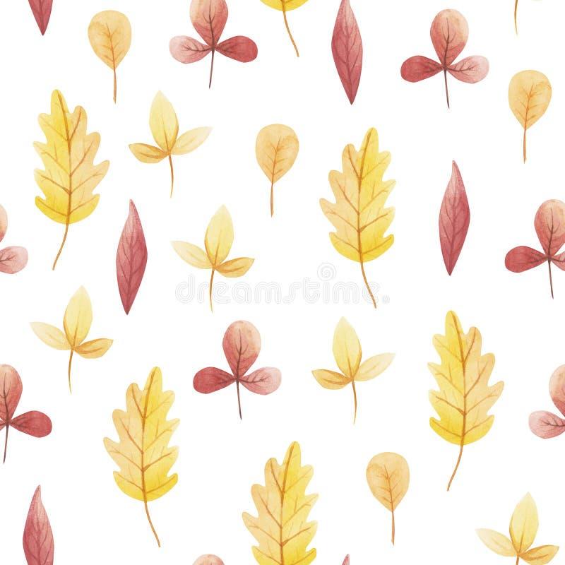 Żółty i czerwony liść akwarela bezszwowy wzór Cześć Listopad, Październik, Wrzesień royalty ilustracja