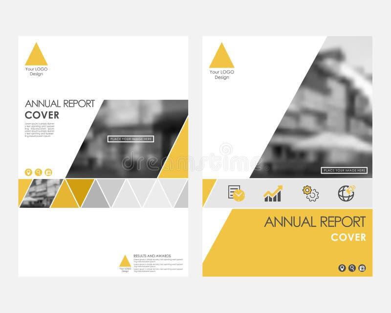 Żółty infographic okładkowy projekta szablon dla sprawozdanie roczne wektoru Nowożytna minimalistyczna biznesowa Powerpoint pojęc ilustracja wektor