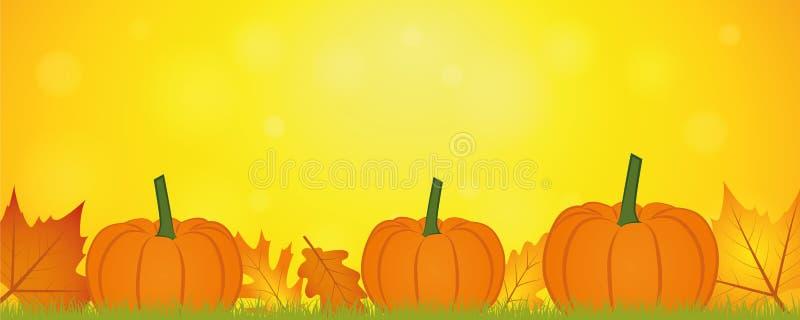 Żółty jesieni tła sztandar z jesieni banią i liśćmi ilustracja wektor