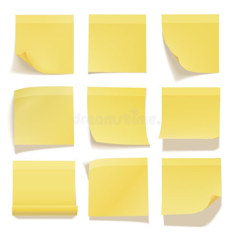Żółty kleisty nutowy realistyczny biurowy ewidencyjny papier ilustracja wektor