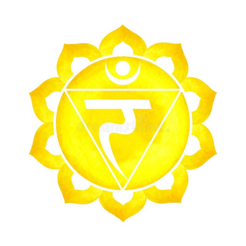 Żółty kolor chakra symbolu słonecznego plexus pojęcie, kwitnie kwiecistego ilustracji