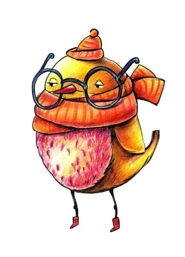 Żółty kreskówka ptak w czerwień butach, będący ubranym ciepłego szalika z widowiskami na jego nosie i kapelusz, ilustracji