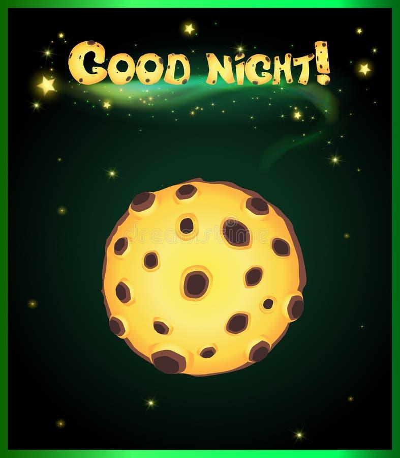 Żółty księżyc w pełni na ciemnym niebie z jarzyć się gwiazdy i dobranoc inskrypcję royalty ilustracja