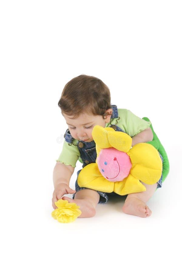 żółty kwiat dziewczyną zdjęcie stock