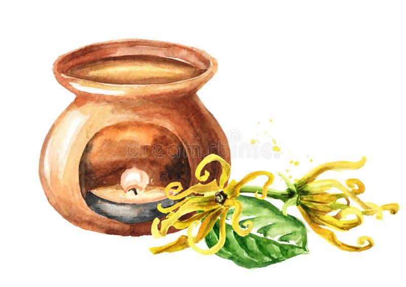 Żółty kwiat i lampa aromatyczna Ylang-Ylang Cananga Ilustracja narysowana ręcznie w kolorze wodnym ilustracja wektor