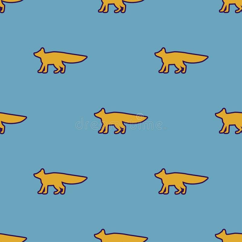 Żółty lisa wzór Sylwetka lis ilustracja wektor
