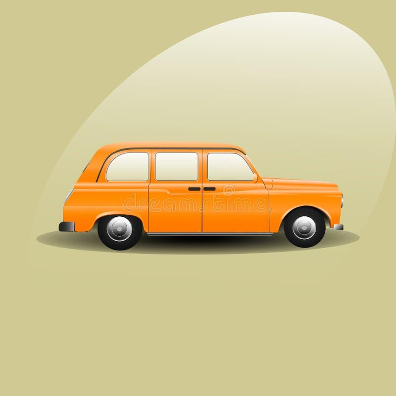 Żółty Londyński taxi wektor, żółta taksówka, rocznika samochód obraz royalty free