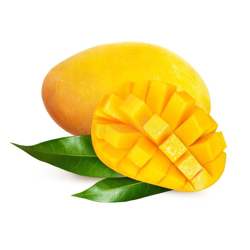 Żółty mango z liśćmi odizolowywającymi na białym tle zdjęcia royalty free