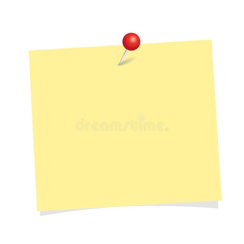 Żółty nutowy papier z czerwieni szpilką odizolowywającą na białym tle royalty ilustracja