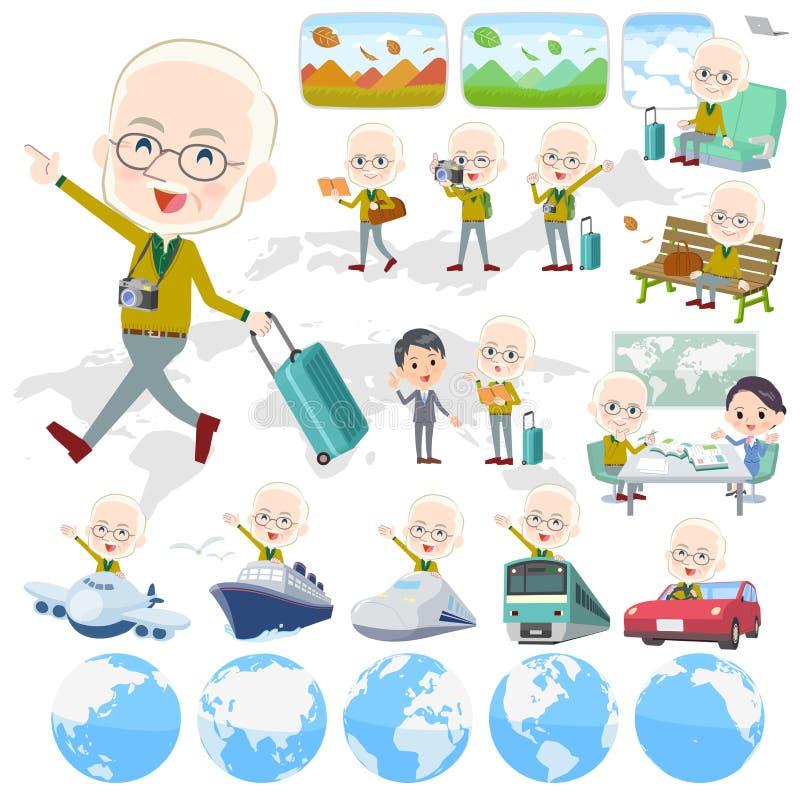 Żółty Ocher dzianina stary człowiek White_travel ilustracji