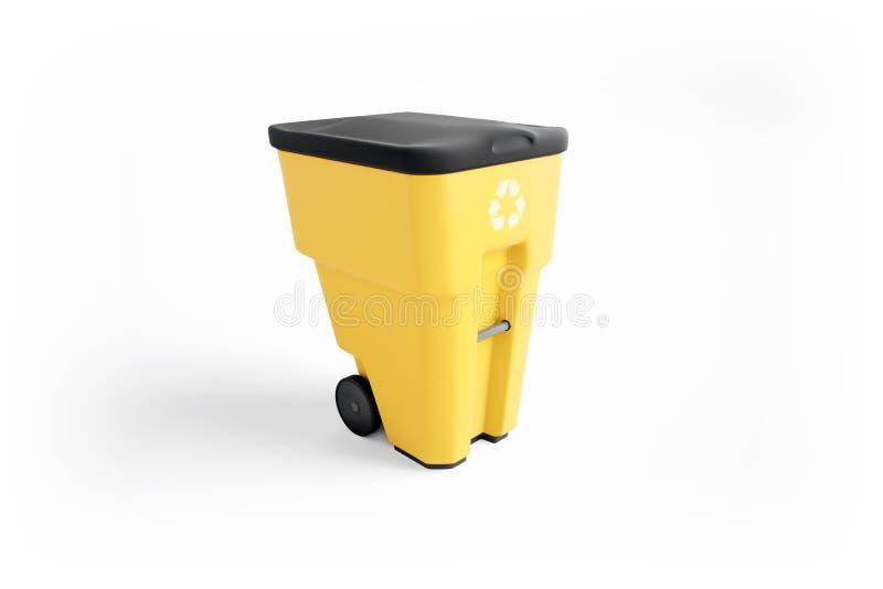 Żółty plastikowy śmieciarski kosz z przetwarzać loga ilustracja wektor