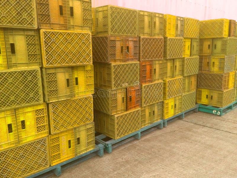 Żółty plastikowy kosz używać w rolnictwie zdjęcie stock