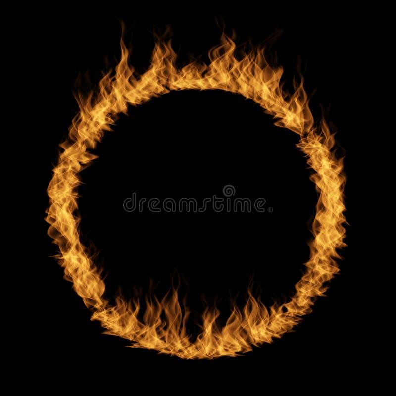 Żółty pomarańczowy gorący rozszalały blask ogień, okrąża wokoło pierścionku ilustracji