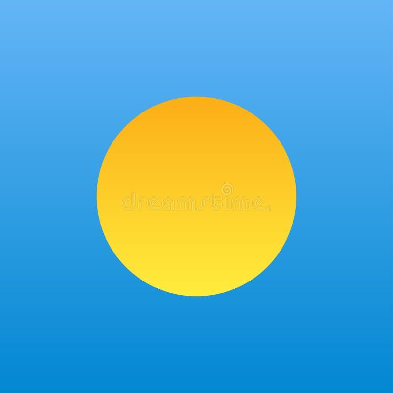 żółty pomarańczowy gradientowy słońce w niebieskim niebie royalty ilustracja