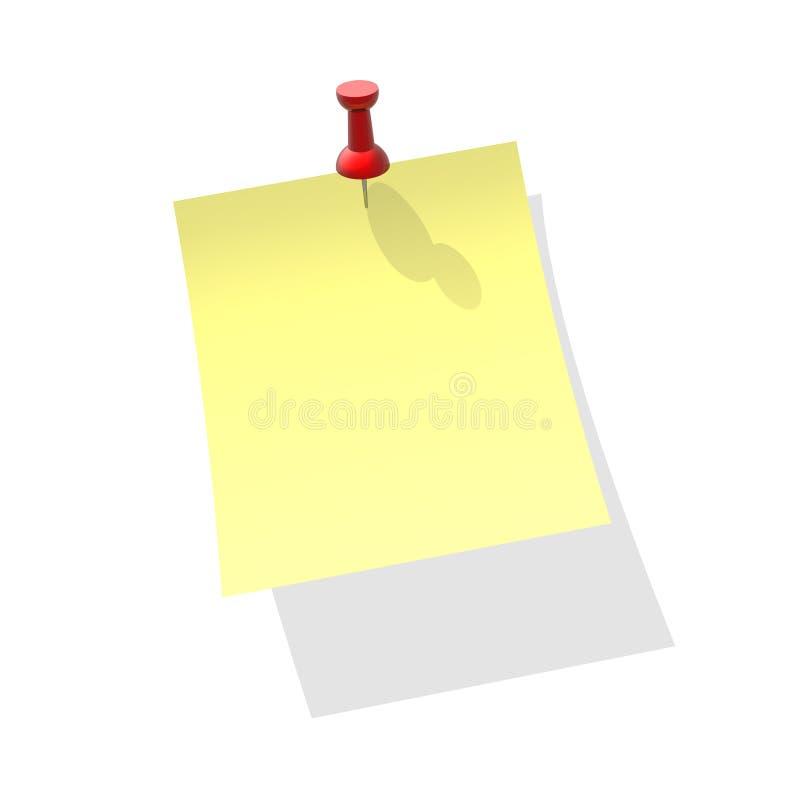 Żółty przypięty papieru royalty ilustracja