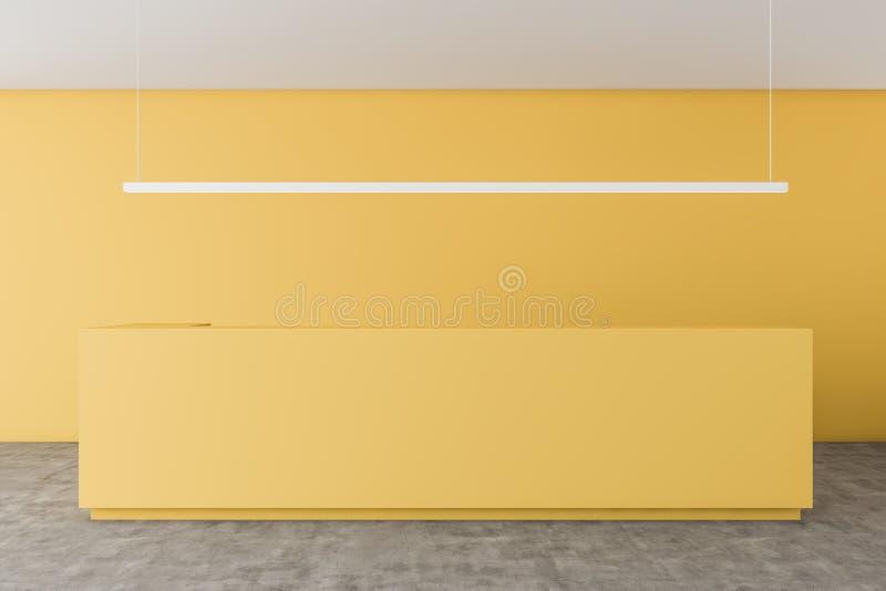 Żółty recepcyjny biurko w żółtym biurze ilustracji