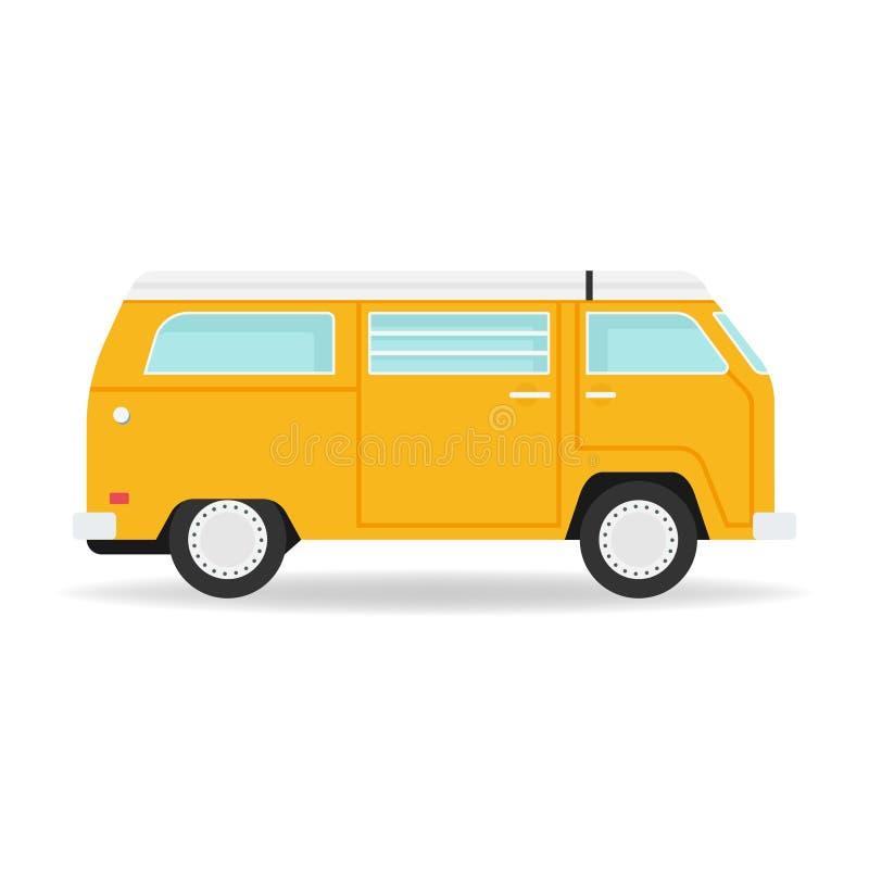 Żółty retro Samochód dostawczy Wektor ilustracji