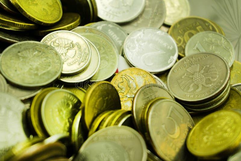 Żółty rosyjski cent ukuwa nazwę błahostki bogactwa symbol obrazy stock