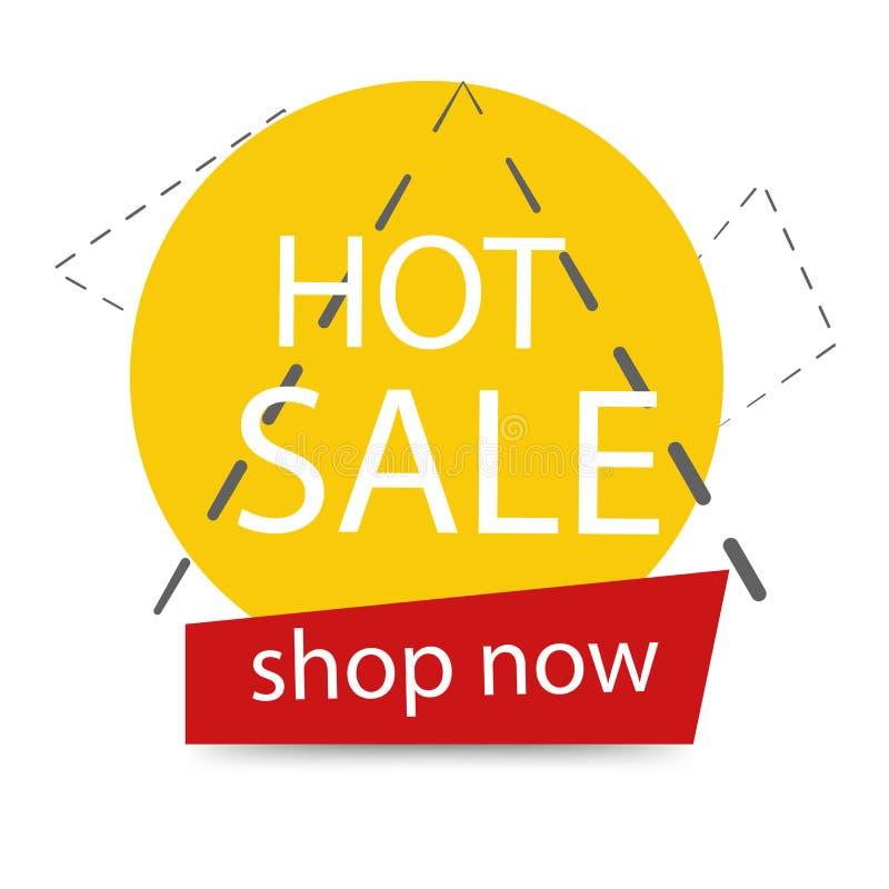 Żółty round element z czerwonego guzika sprzedaży sztandaru szablonu projektem Du?ej sprzeda?y specjalna oferta Oferta specjalna  ilustracja wektor