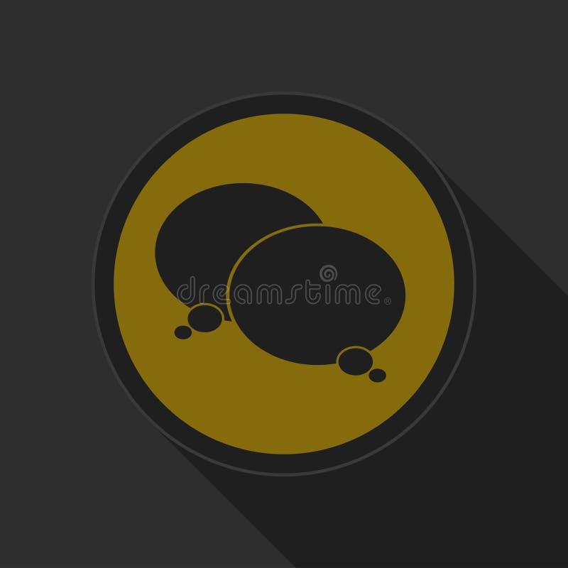 Żółty round guzik, czerni dwa mowa bąbli ikonę ilustracja wektor