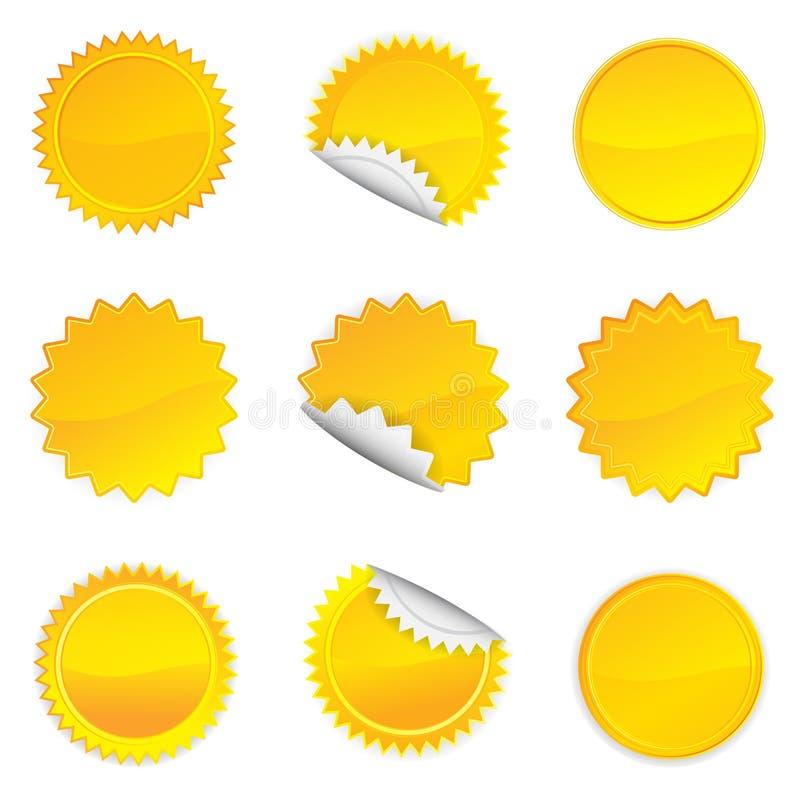 Żółty Starbursts set, ilustracja ilustracja wektor