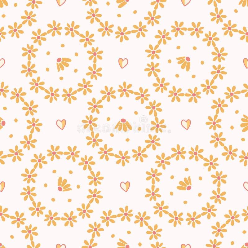 Żółty stokrotka okręgu wianek Ręka rysujący bezszwowy wektoru wzór ilustracja wektor
