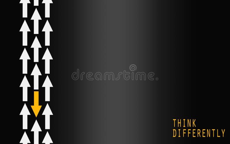 Żółty strzałkowaty odmienianie kierunek, myśleć inaczej pojęcie ilustracja wektor