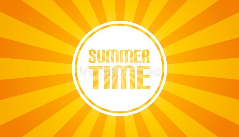 Żółty Sunburst tło Wektorowa ilustracja - lato czasu sztandar - ilustracji
