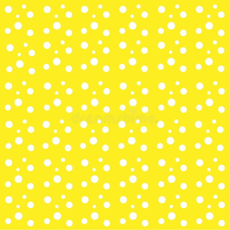 Żółty tło biel opuszcza piłka okregów abstrakta wzór ilustracja wektor