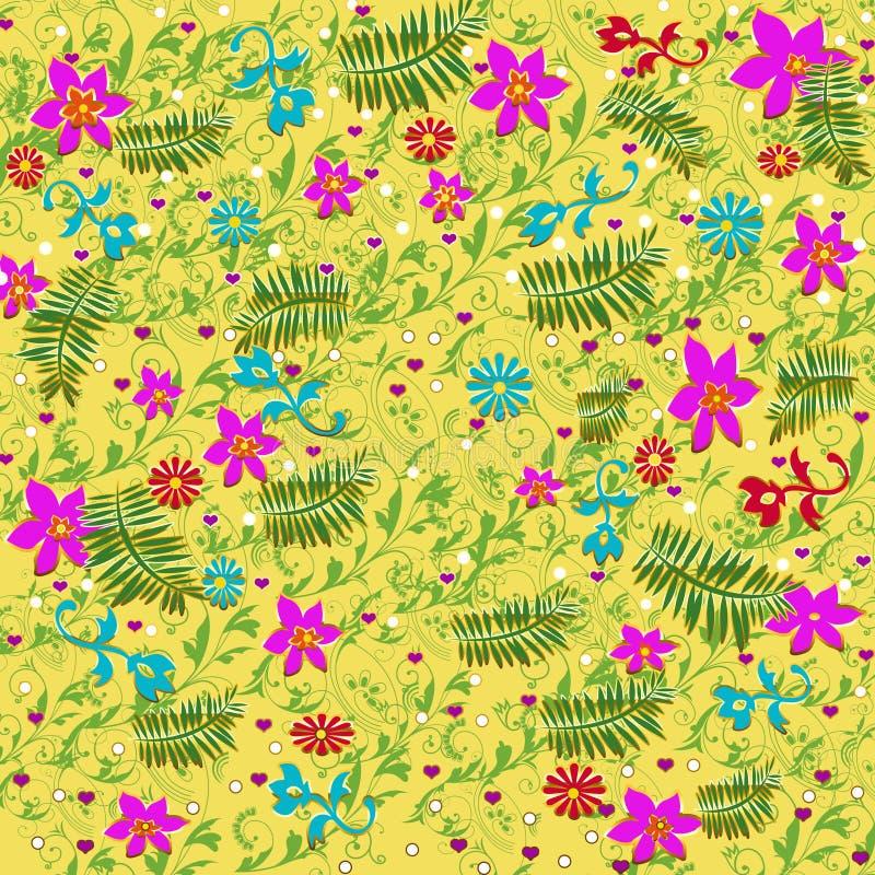 Żółty tło wypełniający z menchii, błękita i czerwieni kwiatami, wraz z zielonymi paprociami ilustracji