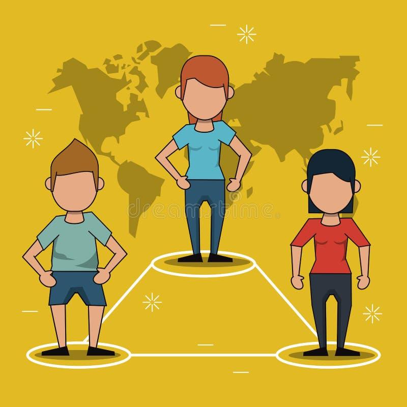Żółty tło z mapą połączenie między ludźmi i świat ilustracja wektor