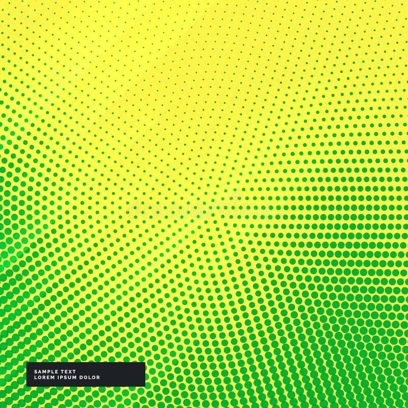 Żółty tło z zielonym halftone skutkiem ilustracji